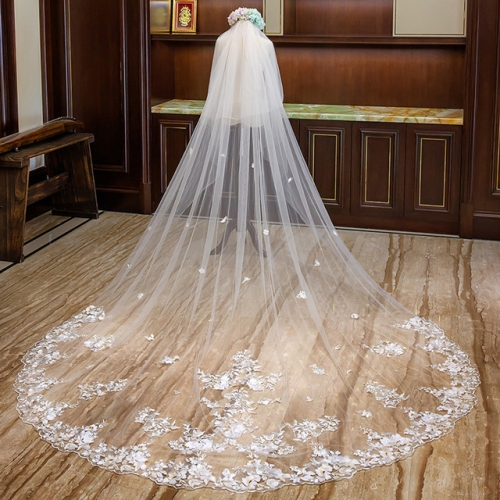Champagne star short gauze bride extra long tailing wedding dress wedding veil long style super fairy white