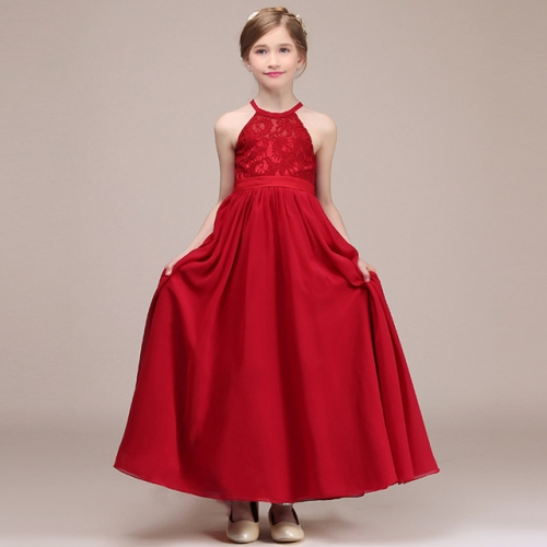 Girls' noble temperament simple red evening dress student performance dress