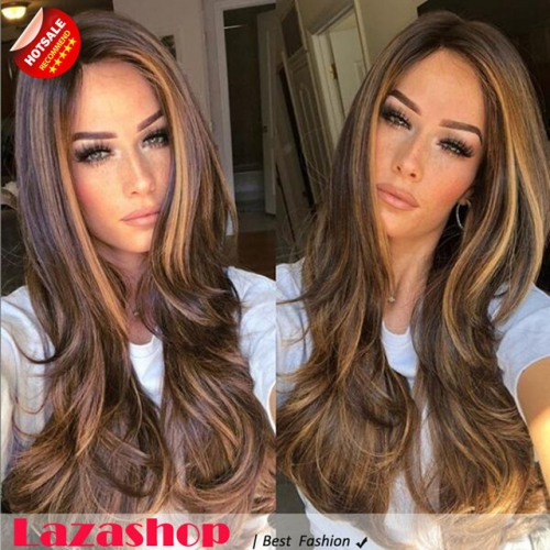 Europe lady fashion large long hair wigs mixed brown wig set