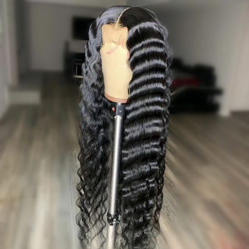 Top 10A 4x4 lace wig 100% human hair deep wave