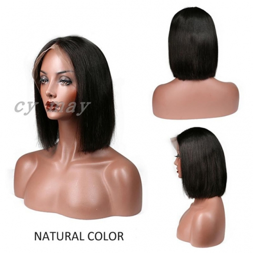 Bob Wig Brazilian Straight Lace Front Human Hair Wigs 9A