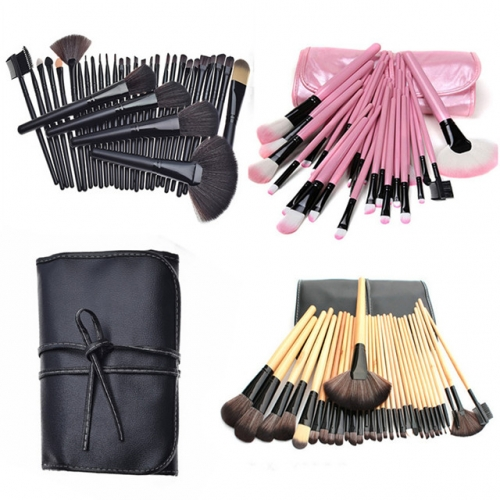 32 make-up brush sets, logs, black and pink make-up brushes, make-up utensils, make-up tools