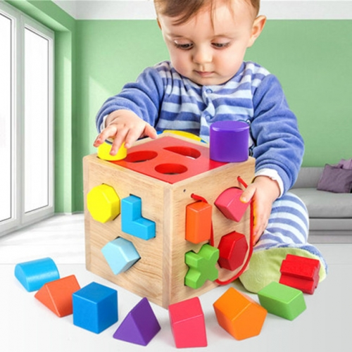 Baby building blocks, toys, intelligence, brainstorming, wood assembly, early childhood education